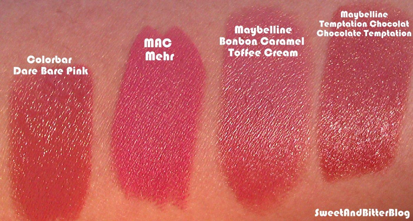 MAC+Mehr+Maybelline+Toffee+Cream+temptation+chocolat++Colorbar+Dare+bare+Pink.jpg (1403×752)