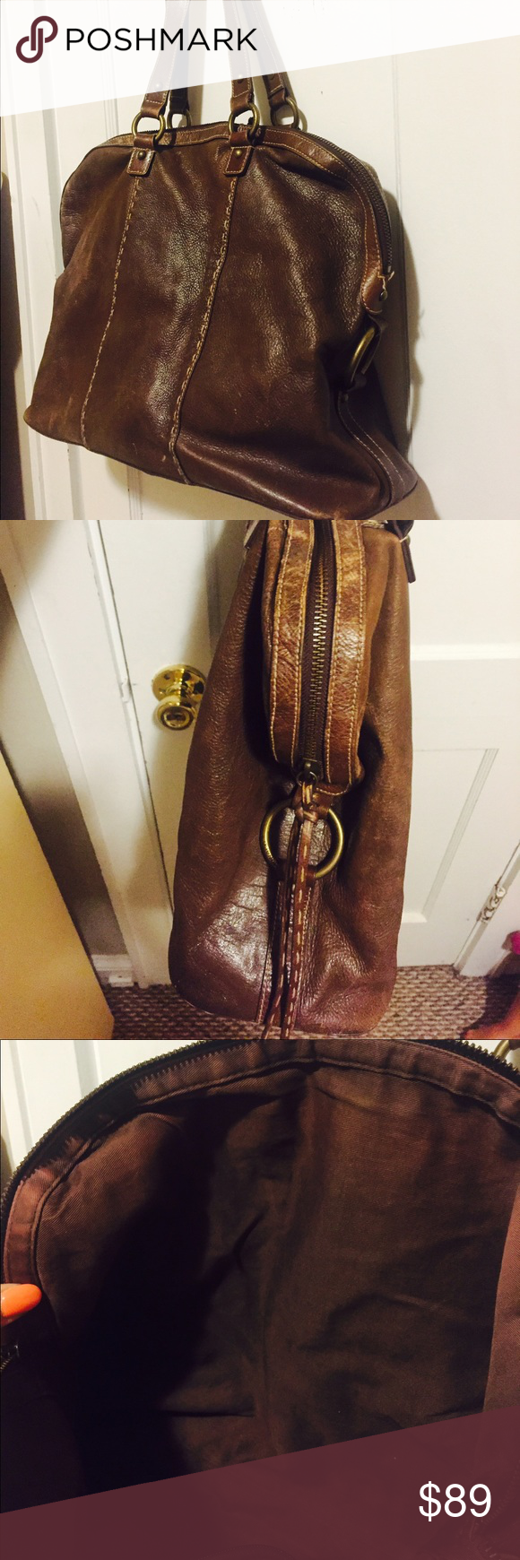"""Club Monaco large leather bag Great condition some fading interior but absolutely gorgeous bag .. 13"""" x 16"""" with 10"""" strap drop Club Monaco Bags Hobos"""