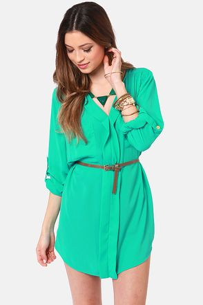 Keep it Real Belted Teal Shirt Dress