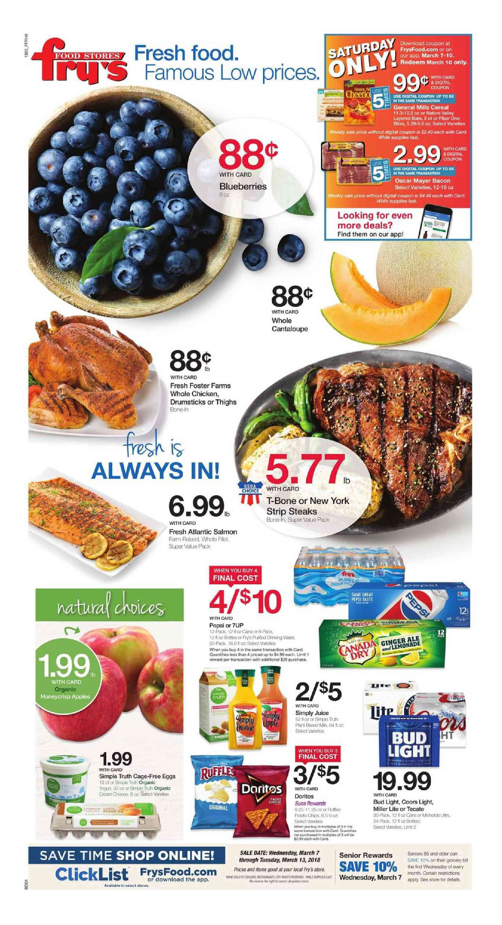 image regarding Frys Printable Coupons titled Frys Foodstuff Weekly advert Flyer January 16 - 22, 2019 Weekly Advert