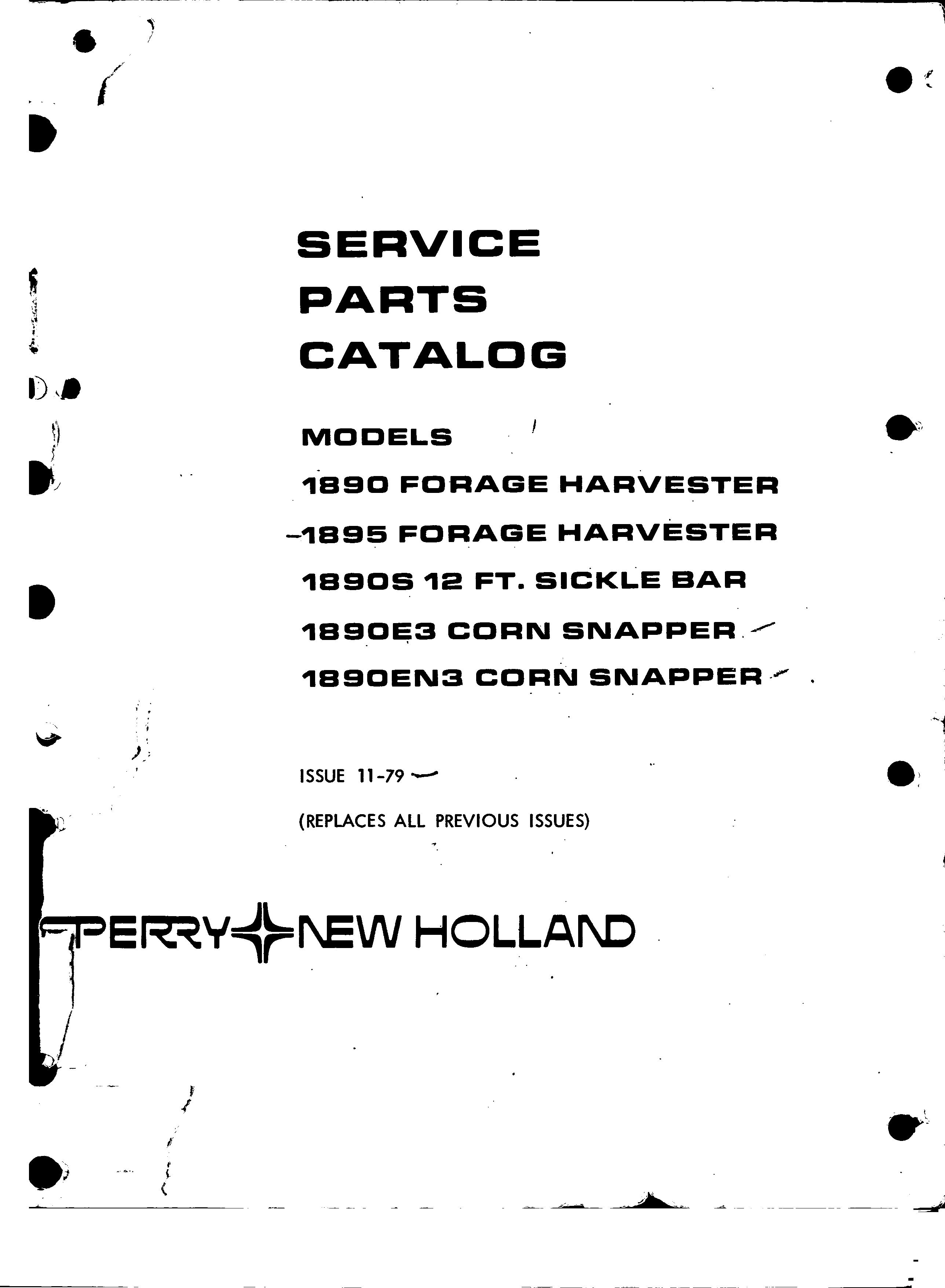 New Holland 1890S 12 FT Sickle bar Service Parts Catalogue
