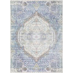 Cream and Pale Violet Vintage Wash Turkish Rug