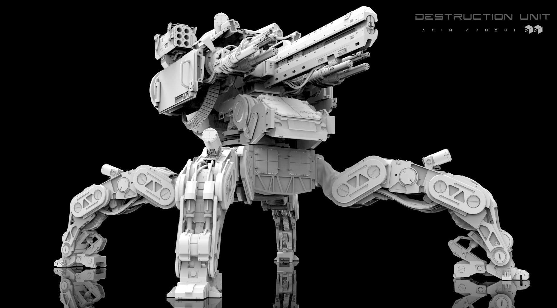 ArtStation - Destruction Unit ! clay render , Amin Akhshi