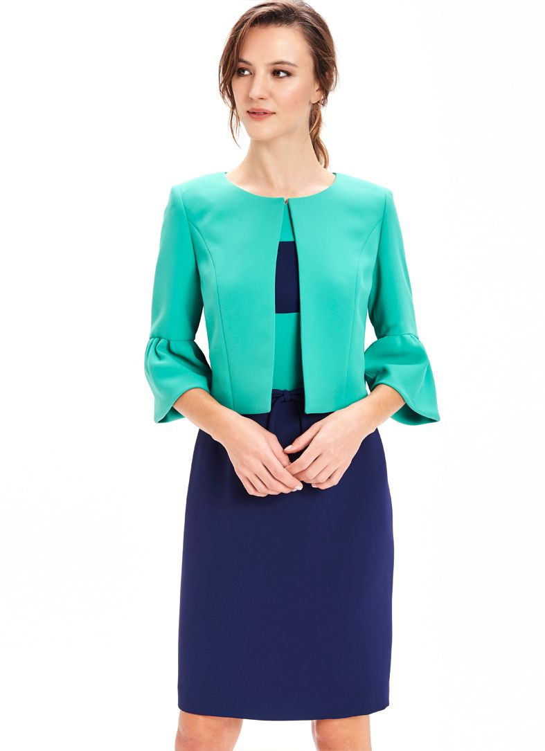 Navy and green dress and jacket by Miss Etern. Perfect for mother of ...