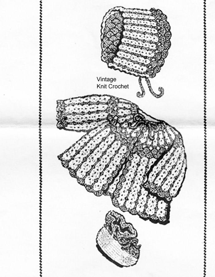 Crocheted Baby Set Pattern, Shell Stitch, Mail Order 7390