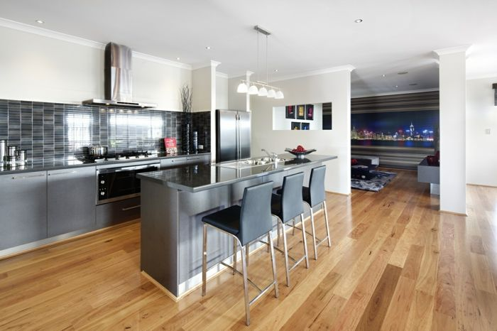 küche bodenbelag laminat küchenrückwand weiße wände | Küche ...