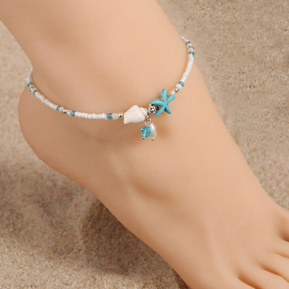 WLL Summer Gold Imitated Pearl Beaded Anklet Jewelry for Women Link Chain Beach Wedding Foot Bracelet Jewelry