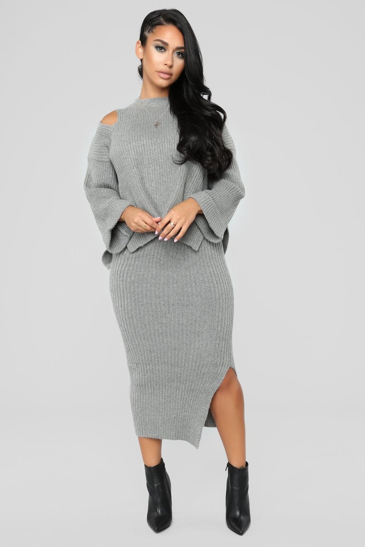 Cold Babe Set Grey Share 59 99 Usd Look Fashion Nova Fashion Skirt And Top Set Fashion Nova