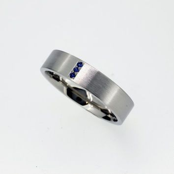 Blue sapphire wedding band made from Palladium man wedding ring