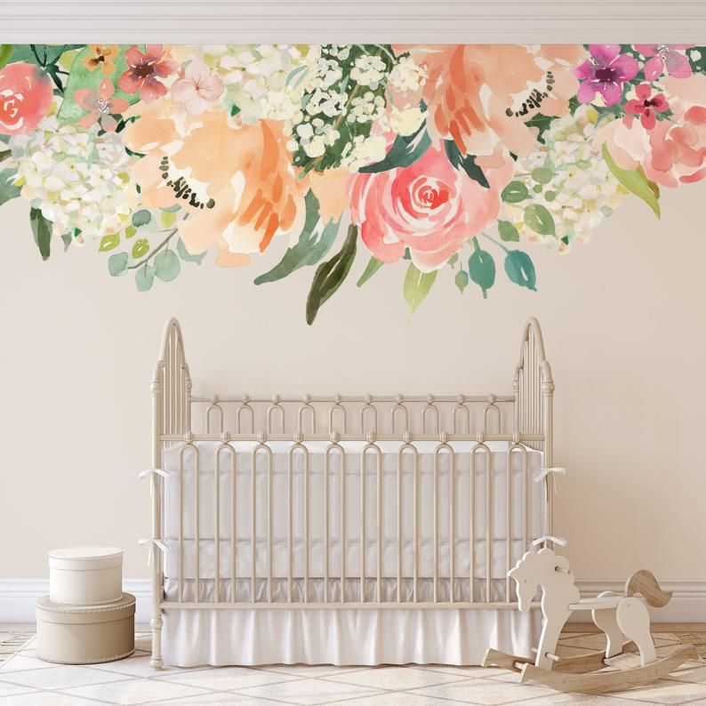 Peaches And Cream Floral Wall Mural Pink Coral Peonies Blooms Wall