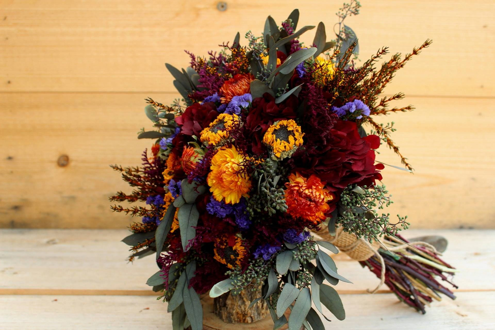 Autumn wedding bouquet with dried mini sunflowers burgundy autumn dried flower wedding bouquet with dried mini sunflowers burgundy hydrangea orange and purple spray flowers and seeded eucalyptus izmirmasajfo Choice Image