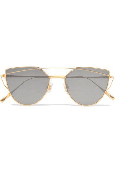 315a34fa96b7 Love Punch Aviator-Style Gold-Tone Sunglasses