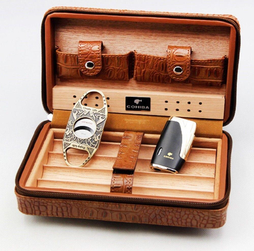Cohiba Brown Leather Cedar Cigar Case Humidor Cutter Lighter Leather Cigar Case Cigar Travel Case Cigar Cases