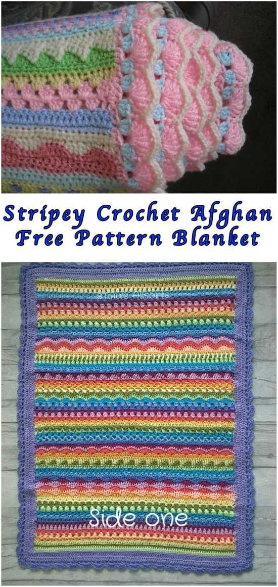 Stripey Crochet Afghan Free Pattern Blanket | Gallos y Gallinas