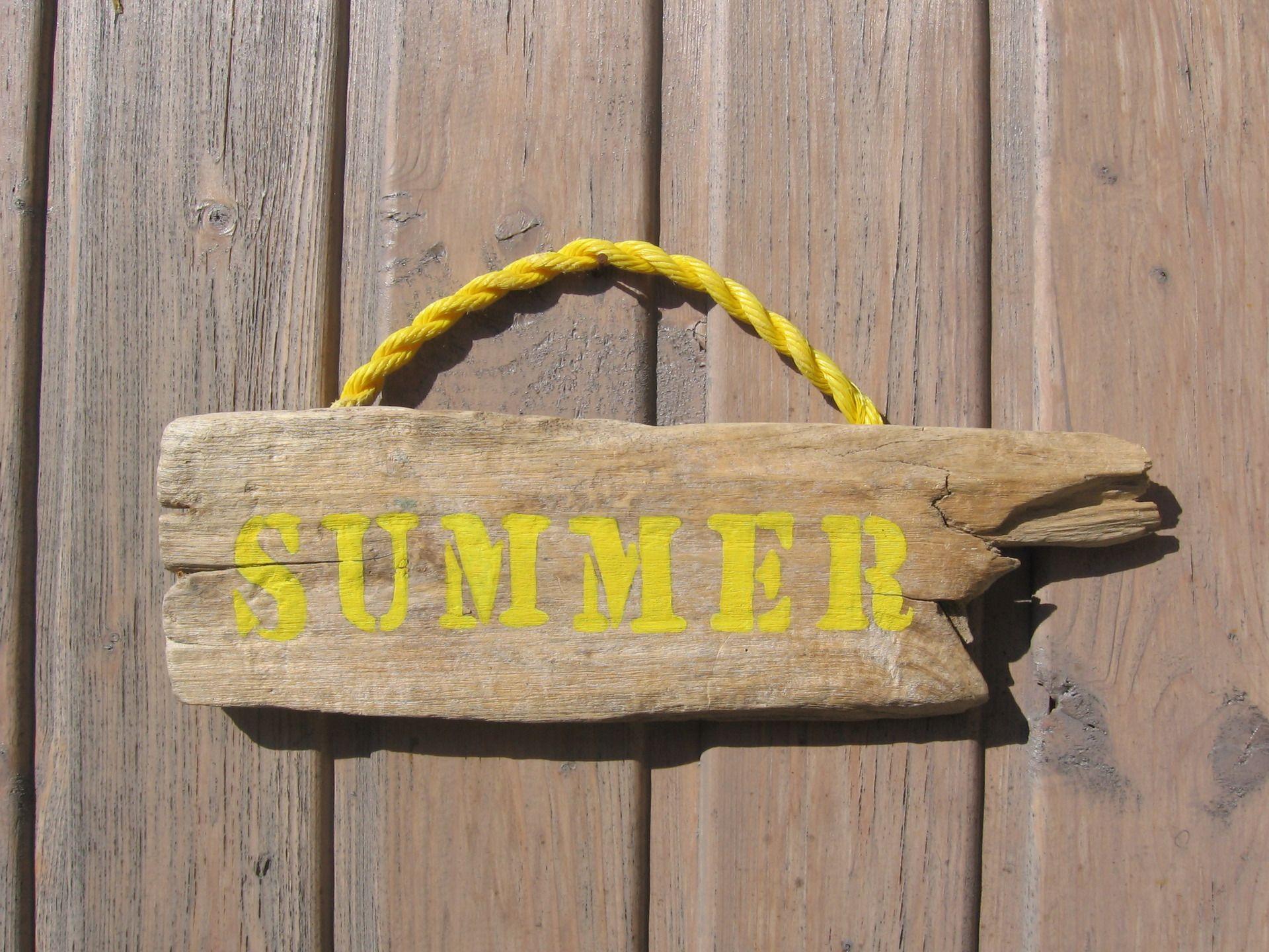 Pancarte En Bois Flotte Inscription Summer Peinture Acrylique