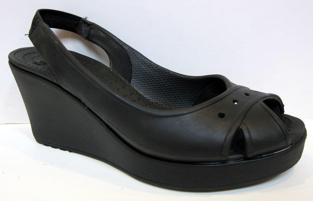 801d5d659 Crocs  Farrah  Black Slingback Wedge Size 8  Crocs  PlatformsWedges ...