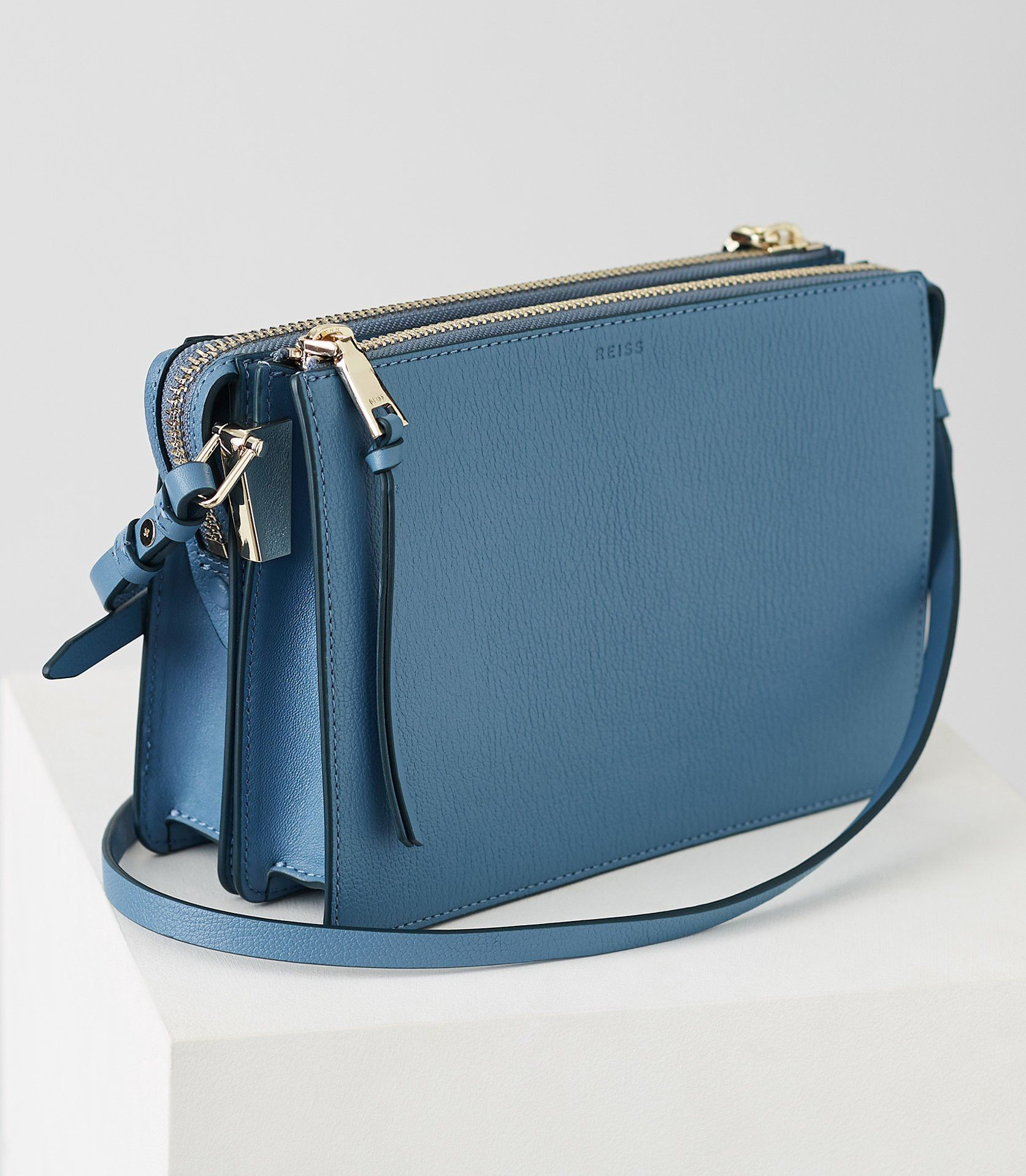 74949540ec9e Reiss Dalston Leather Cross-Body Bag Blue - One Size   Products by ...