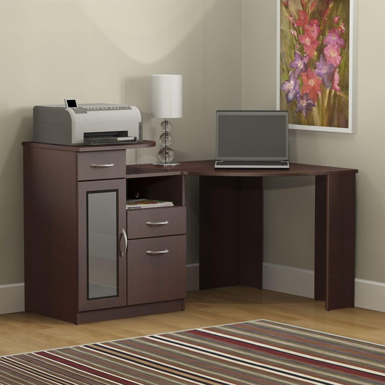 Medium Wood Finish Corner Computer Desk With Printer Shelf Corner Writing Desk Black Corner Computer Desk Home Office Computer Desk