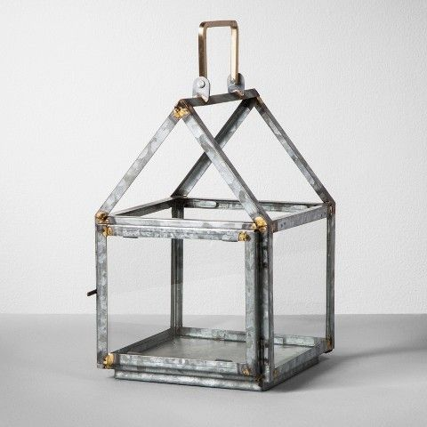 Hearth Amp Hand With Magnolia Galvanized House Lantern Small Affiliate Silver Pillar Candle