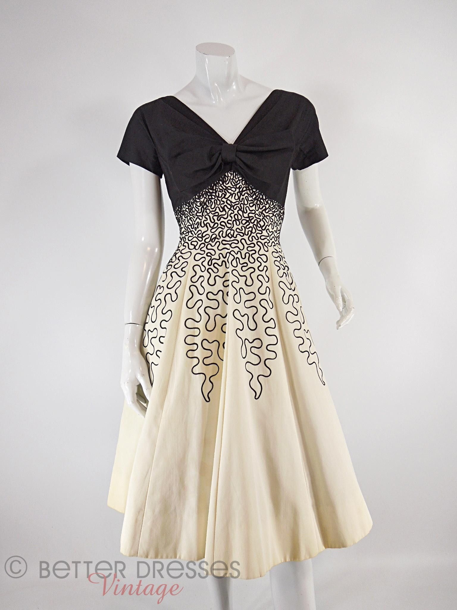 50s Black and Cream Party Dress - sm   50er, Kleider und Nähideen