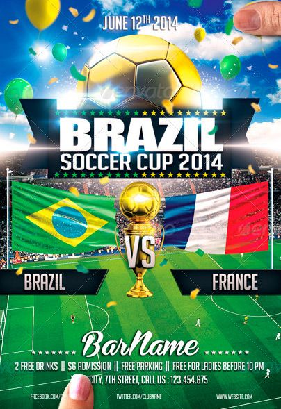 Brazil Soccer Cup 2014 Flyer Template -    wwwffflyer - football flyer template