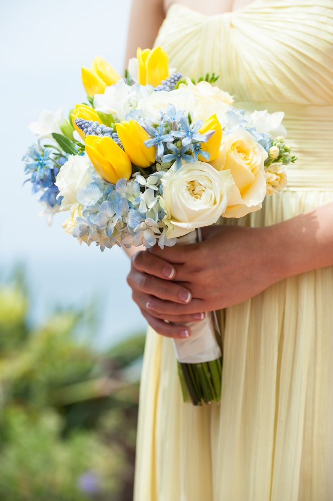 Yellow And Light Blue Bouquet Tulips Hydrangea Roses Tweedia