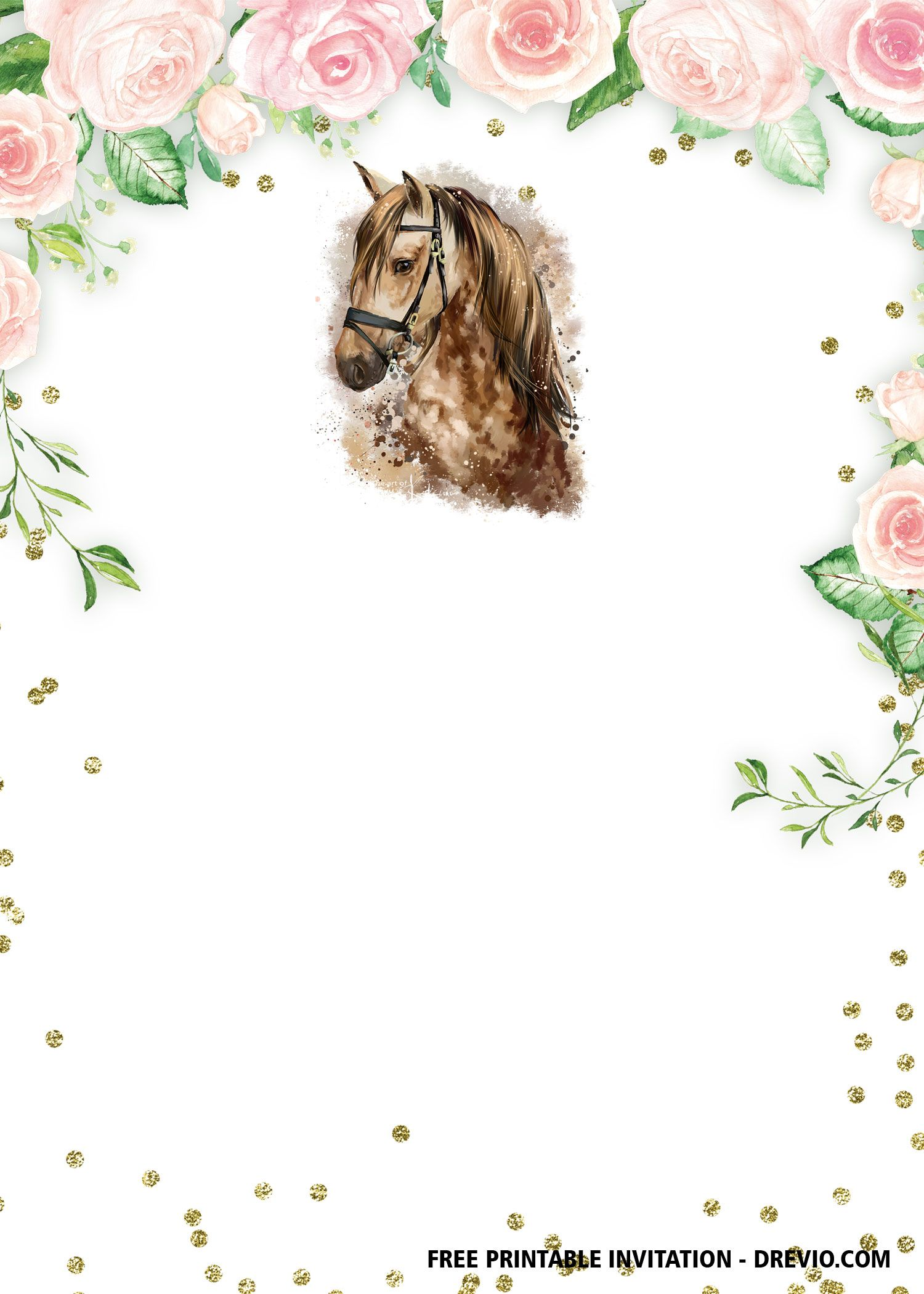 Free Printable Horse Floral Vintage Invitation Templates Horse Birthday Invitations Horse Birthday Horse Birthday Party Invitations