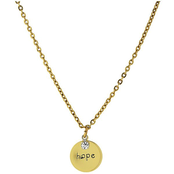 """1928 14K Gold-Dipped """"Hope"""" Crystal Necklace ($14) ❤ liked on Polyvore featuring jewelry, necklaces, 14k necklace, 14 karat gold necklace, chain pendant, crystal pendant necklace and crystal jewelry"""