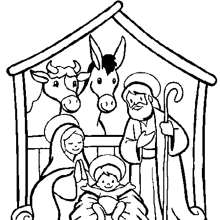Dessin crèche de Noël a colorier | Crèche de noël coloriage