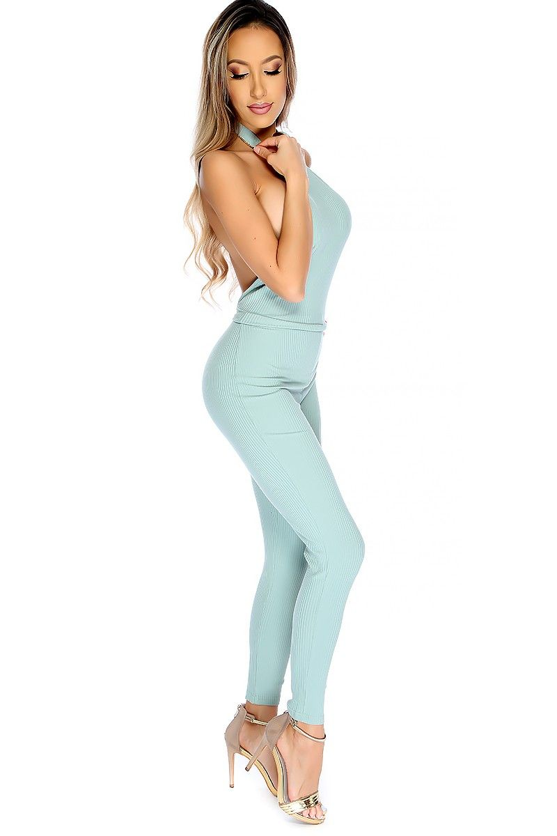 5169c8b31bfa Show off your sexy curves with this bodycon ribbed jumpsuit! Features  include