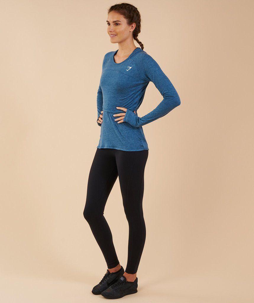 6a5b68c42389bb Gymshark Double Up Long Sleeve Top - Petrol Blue Marl | Clothes ...