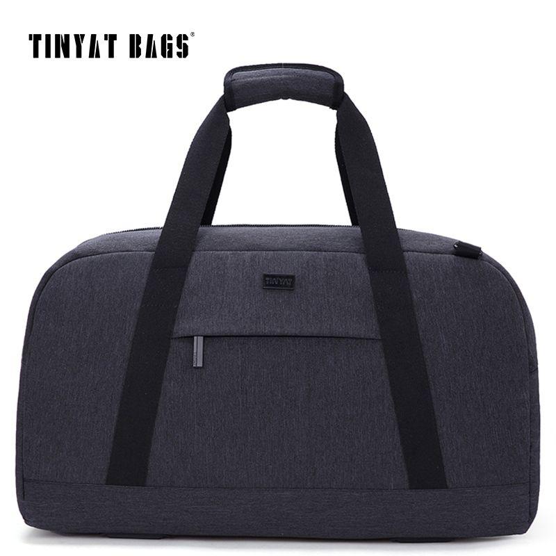TINYAT Nuove Maschio sacchetto di Viaggio sacchetto Dei Bagagli di Viaggio 40L Nylon Grande Capacità Borse borsa Casual Spalla Duffle Bag Grigio T307