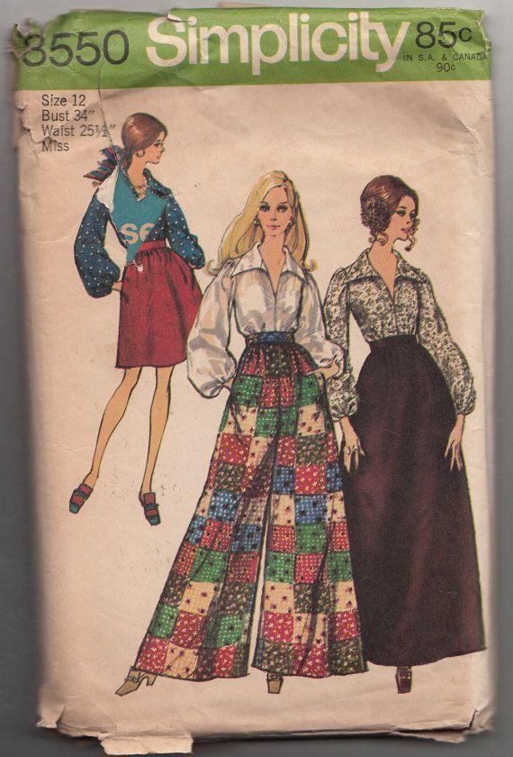 1f1ae47dba57 Boho Palazzo Pants Sewing Pattern Vintage 1960s Hippie Chic Maxi ...