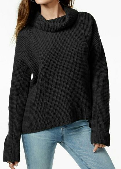 NWT Free People Side Winder  Cowl Neck Sweater NWT Free People Side Winder Black cowl neck sweater. Currently selling at Macy's online $74.99. Picture 4 is to show the design of cowl neck and how it can be worn. Size Small 100% Wool Free People Sweaters Cowl & Turtlenecks