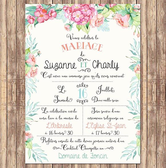 Invitation mariage hortensia et rose love and family pinterest invitation mariage hortensia et rose stopboris Image collections