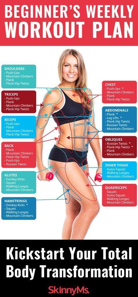 Beginner's Weekly Workout Plan This Beginner's Weekly Workout Plan is guaranteed to kickstart your transformation!