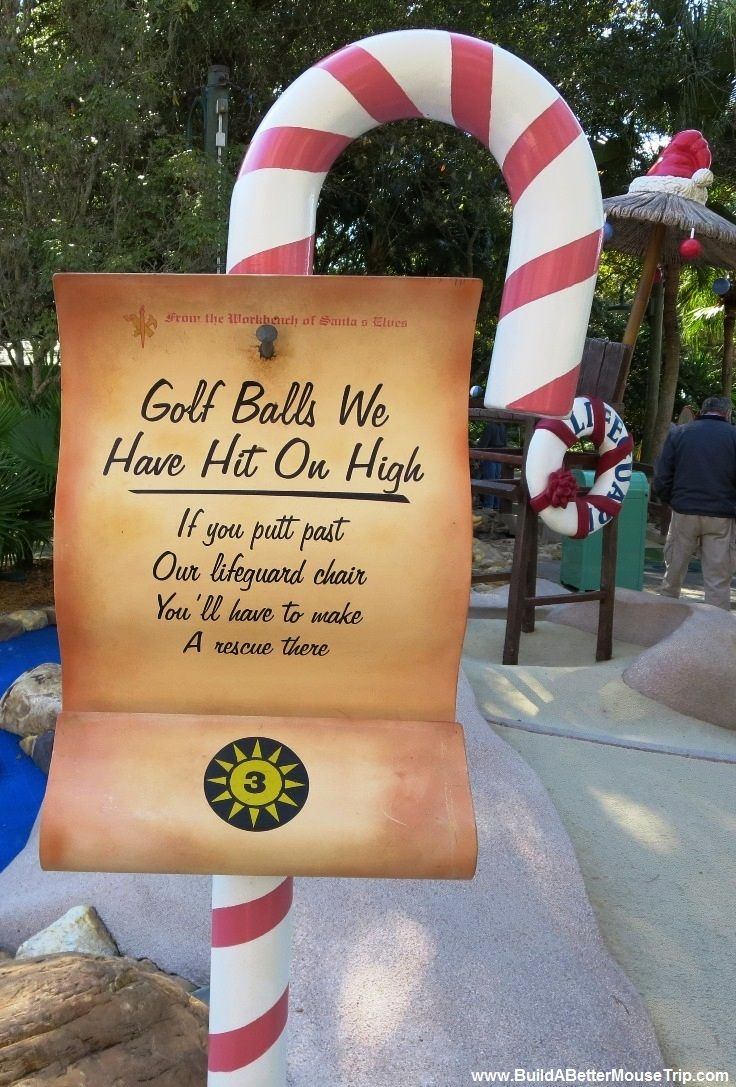 one of the signs at the winter summerland miniature golf course at