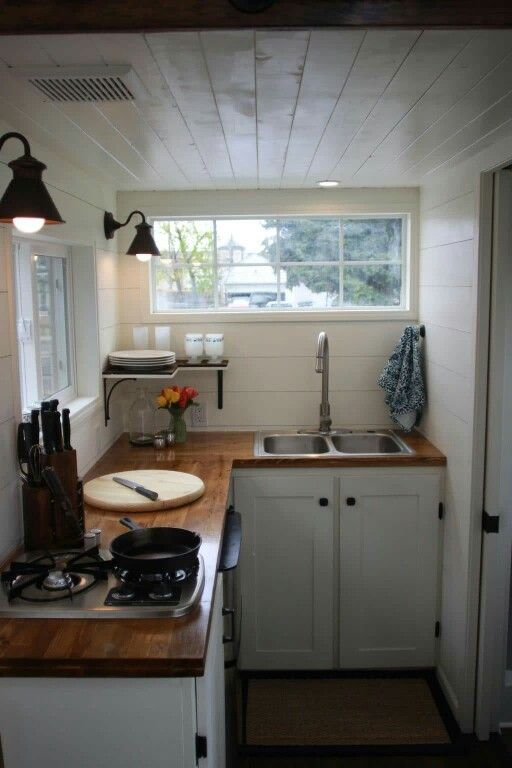 Kitchen With Wood Countertops Tiny Kitchen Design Kitchen Remodel Small Tiny House Kitchen