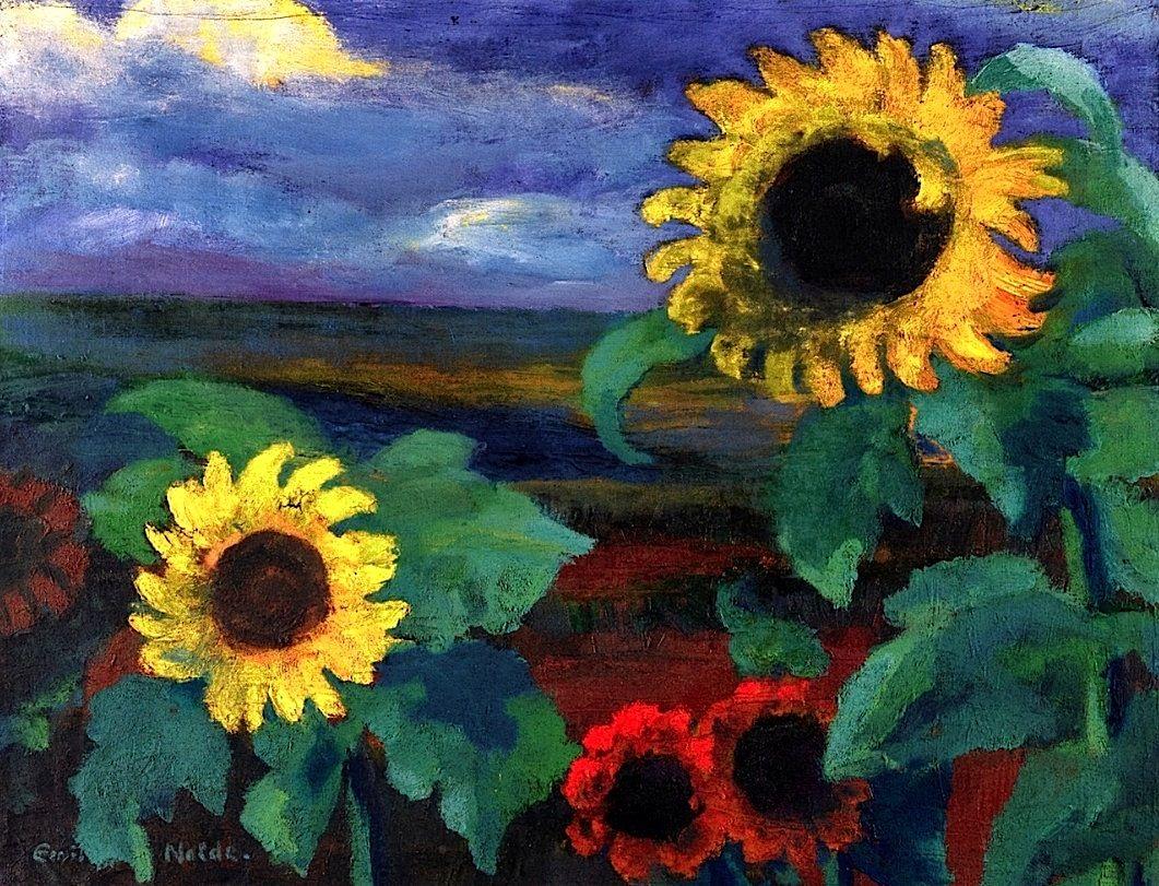 Sunflowers, Evening II Emile Nolde - 1944