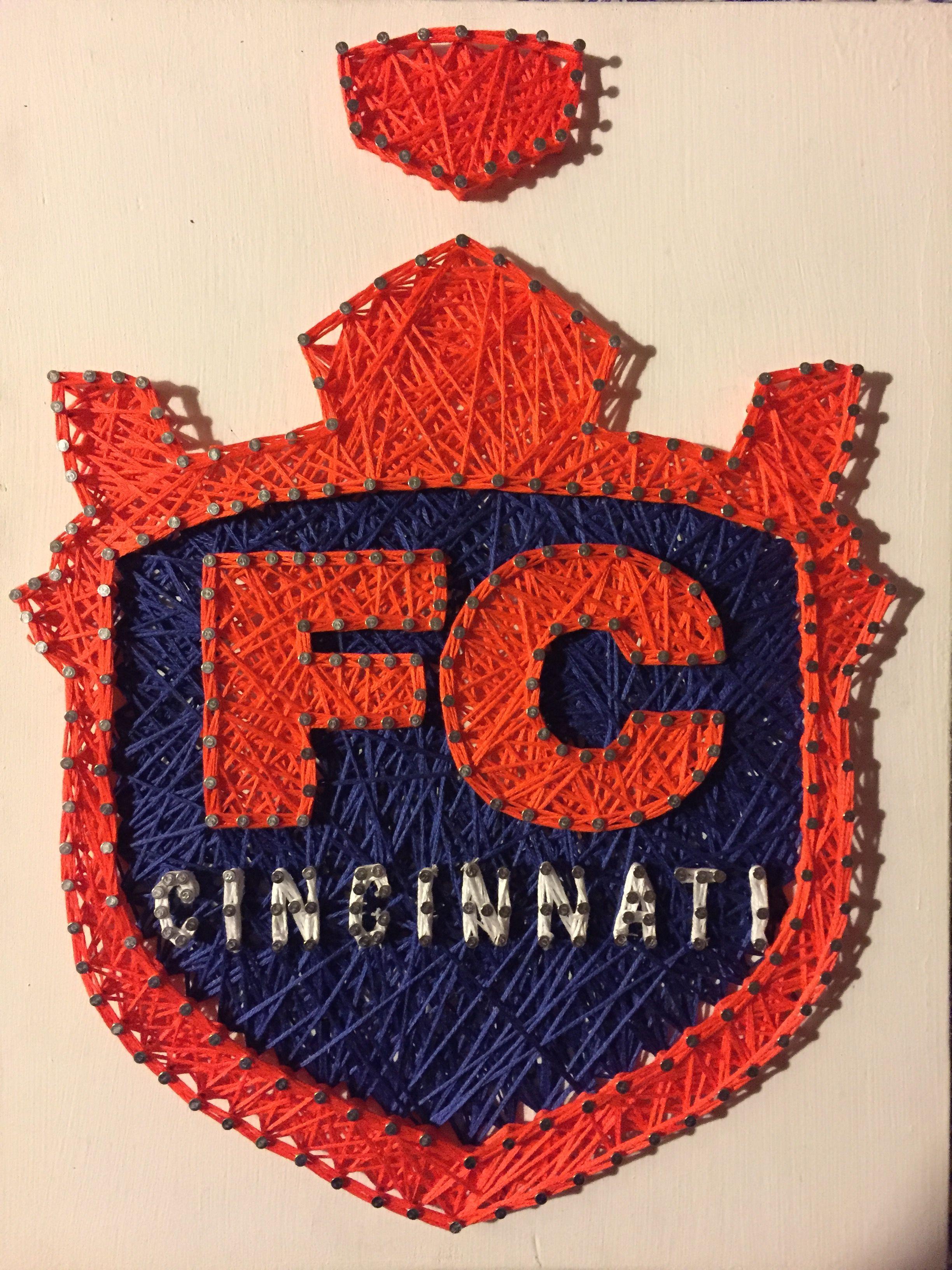 FC Cincinnati Soccer Custom String Art Shield