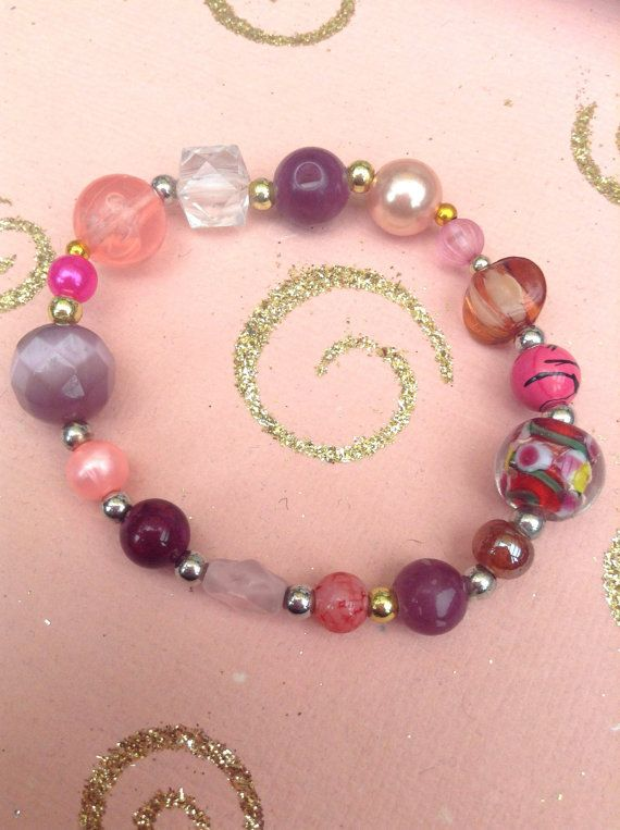 Pink purple and red 'mix and match' glass beaded