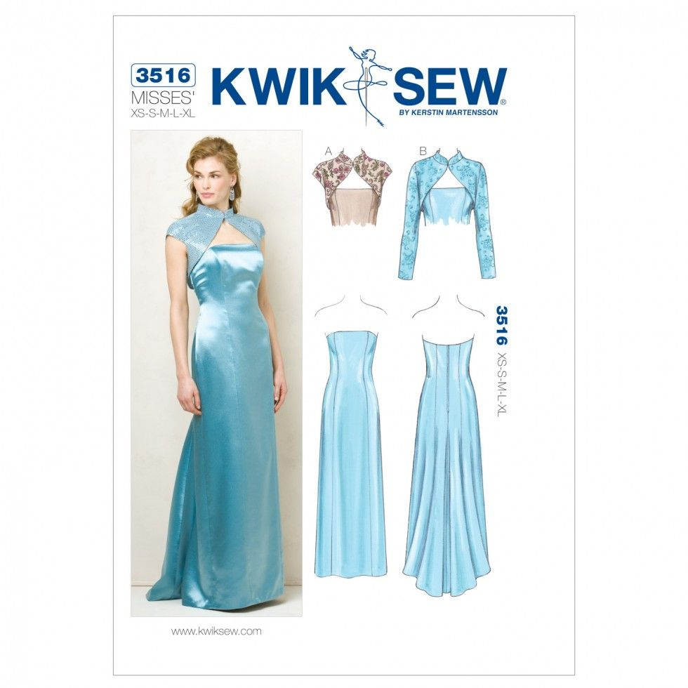 Kwik Sew Ladies Sewing Pattern 3516 Special Occasion Dress & Bolero ...