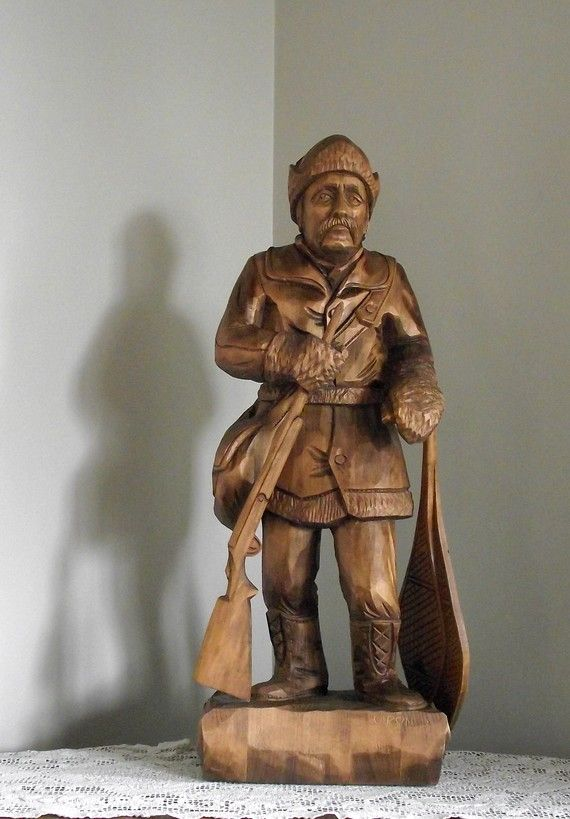 Antique Wood Carving of a Woodsman or Hunter. Quebec,Canada