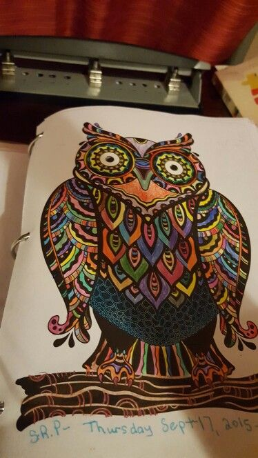 My Coloful Owl From The Colorama Coloring Book Cat Coloring Book Coloring Books Lost Ocean Coloring Book