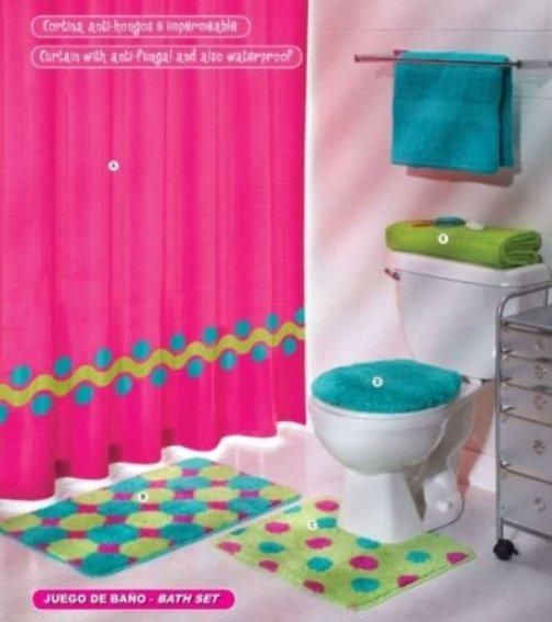 Beautiful Bathroom Decor Set, The U201cPink Green Aqua Blue Circles Bath Set 5  Pcs