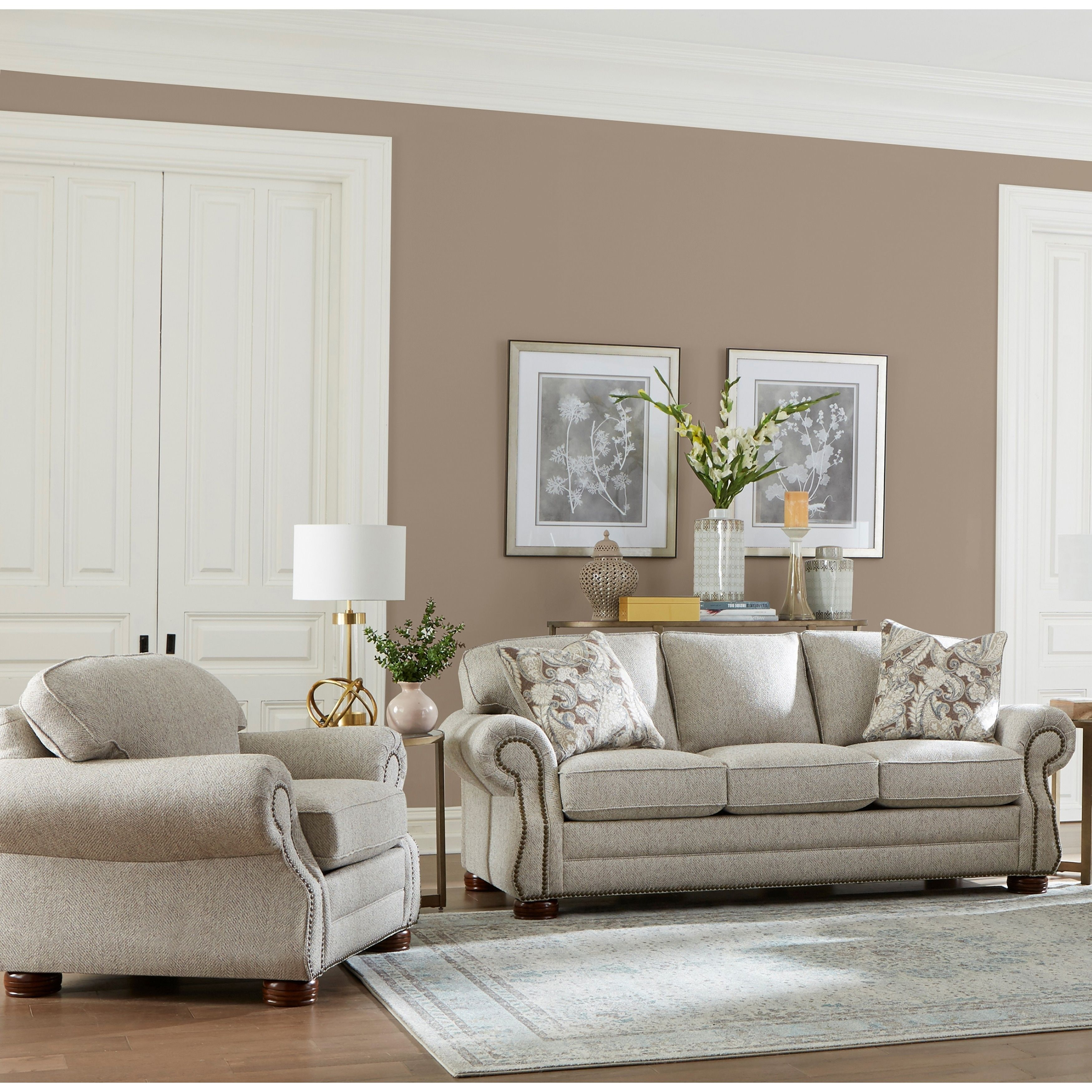 Made In Usa Austin Taupe Brown Fabric Sofa And Chair With Nailhead Trim Living Room Sets Leather Living Room Set Living Room Leather