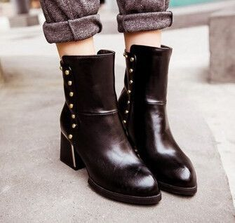 Women new fashion spring autumn boots vintage pointed toe thick heels short shoes large plus size 40-43