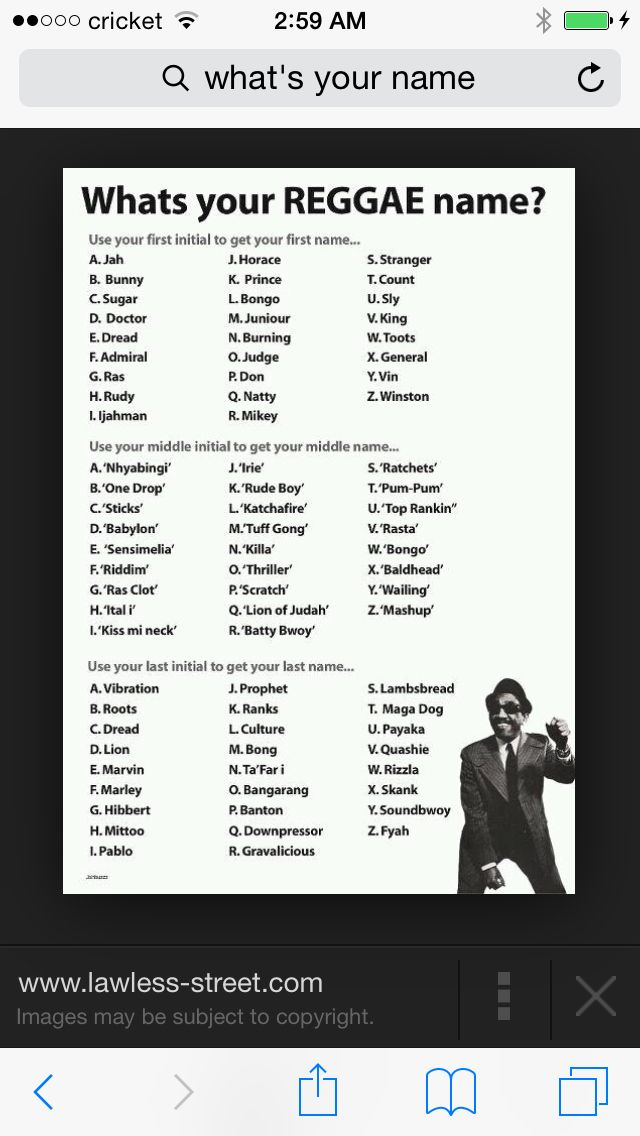 Your Reggae Name Reggae What Is Your Name Names