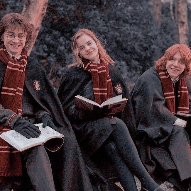 The trio smiling