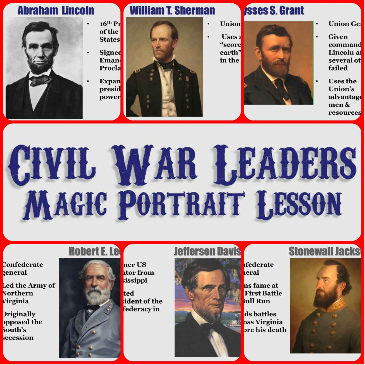 Civil War Leaders Magic Portrait Lesson